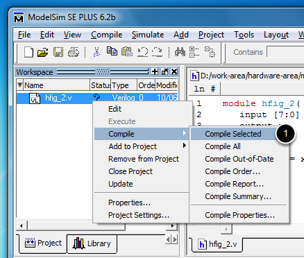 Simulate a design with Modelsim